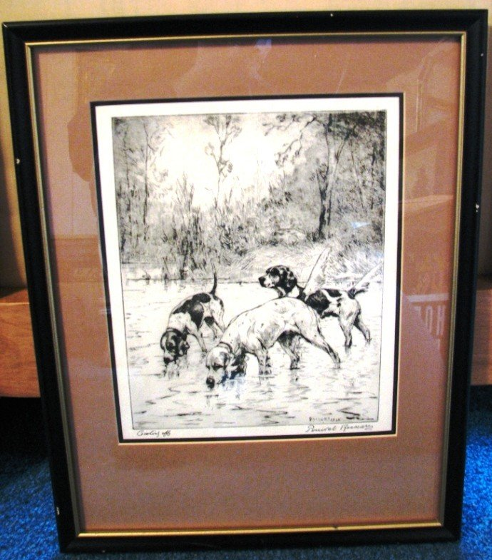 """18: Percival Rosseau Etching """"Cooling Off"""""""