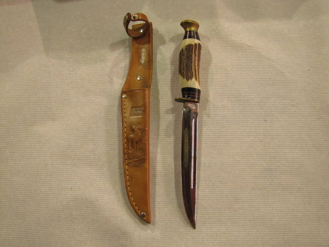 5: German bone handle knife with leather sheath