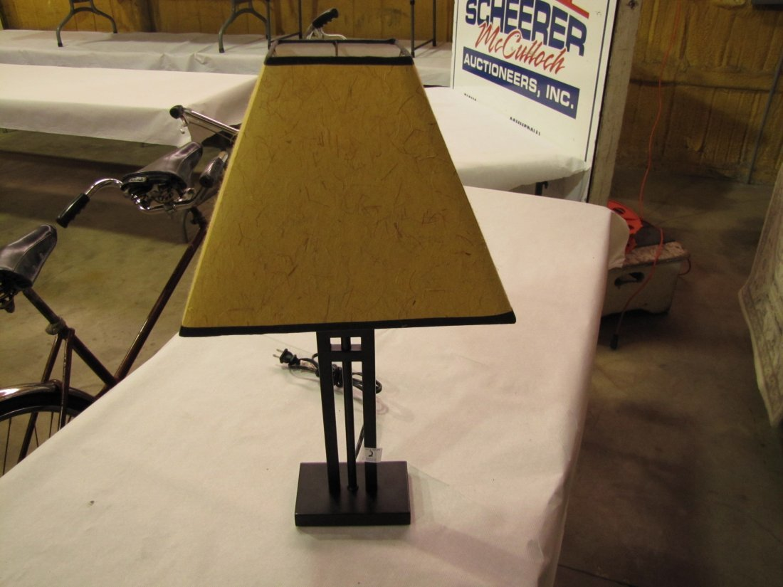 16: Contemporary metal frame end table lamp
