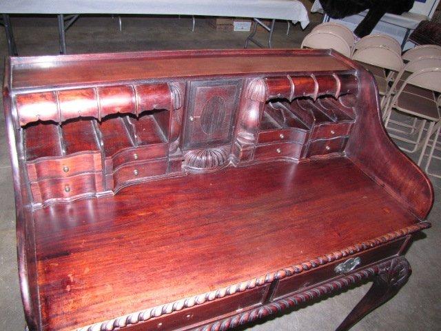 35: Teakwood hand carved secretary
