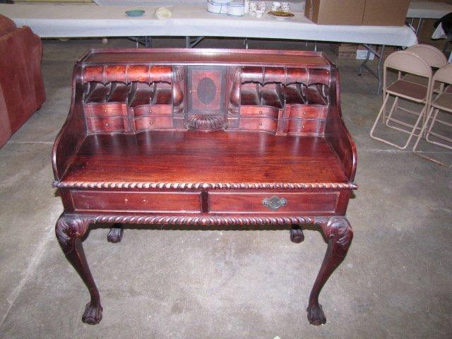 35: Teakwood hand carved secretary - 2