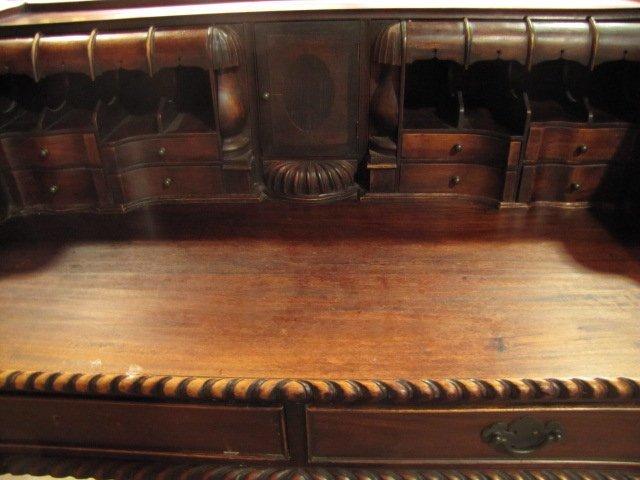 35: Teakwood hand carved secretary - 3