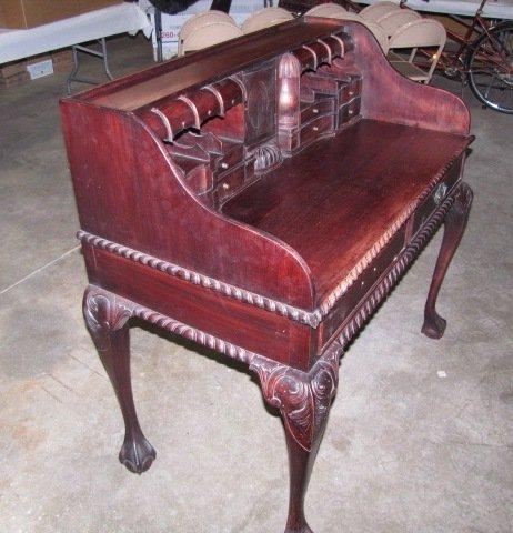 35: Teakwood hand carved secretary - 4