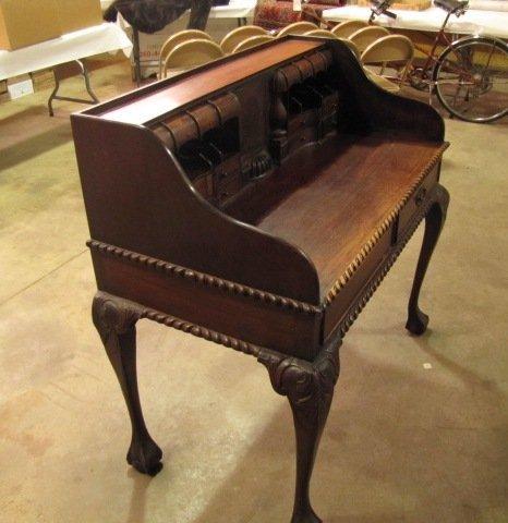 35: Teakwood hand carved secretary - 5