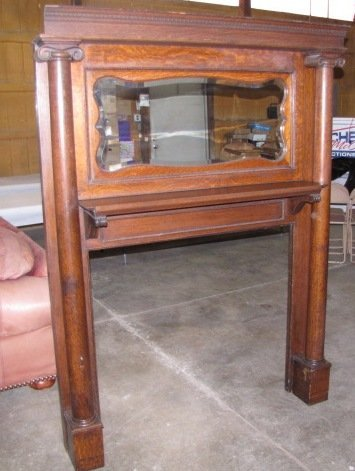 old wood fireplace mantels. 38  Antique wood fireplace mantel with mirror