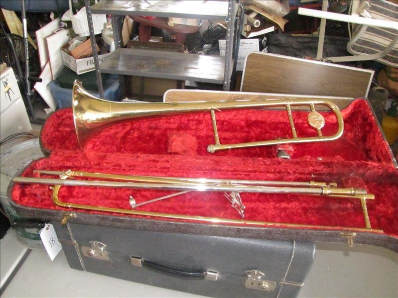23: Pan American trombone in case