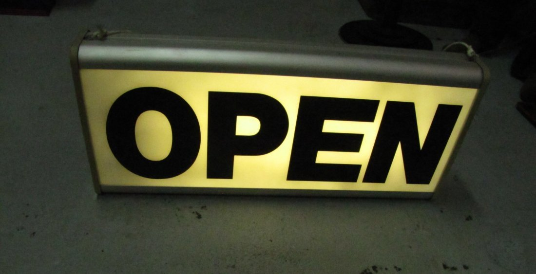 """13: Dualite hanging """"OPEN"""" sign"""