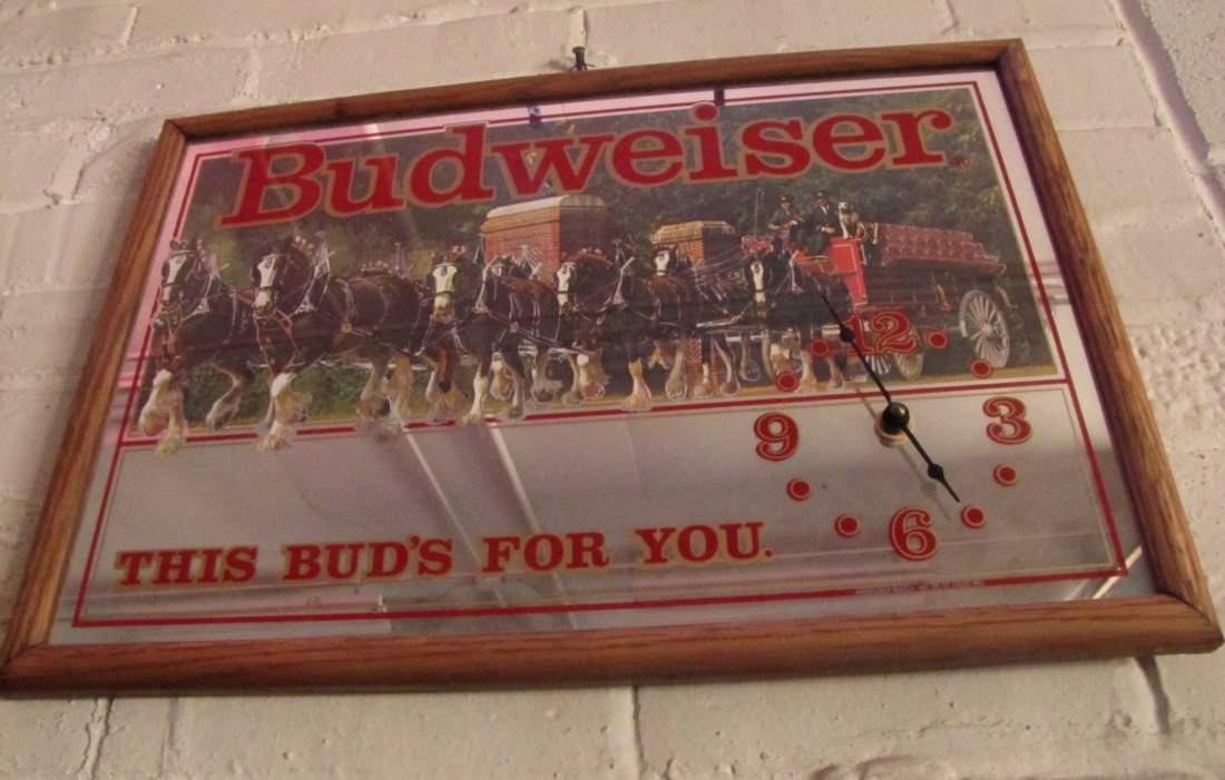 39 Vintage Budweiser Clydesdale Mirror Wall Clock