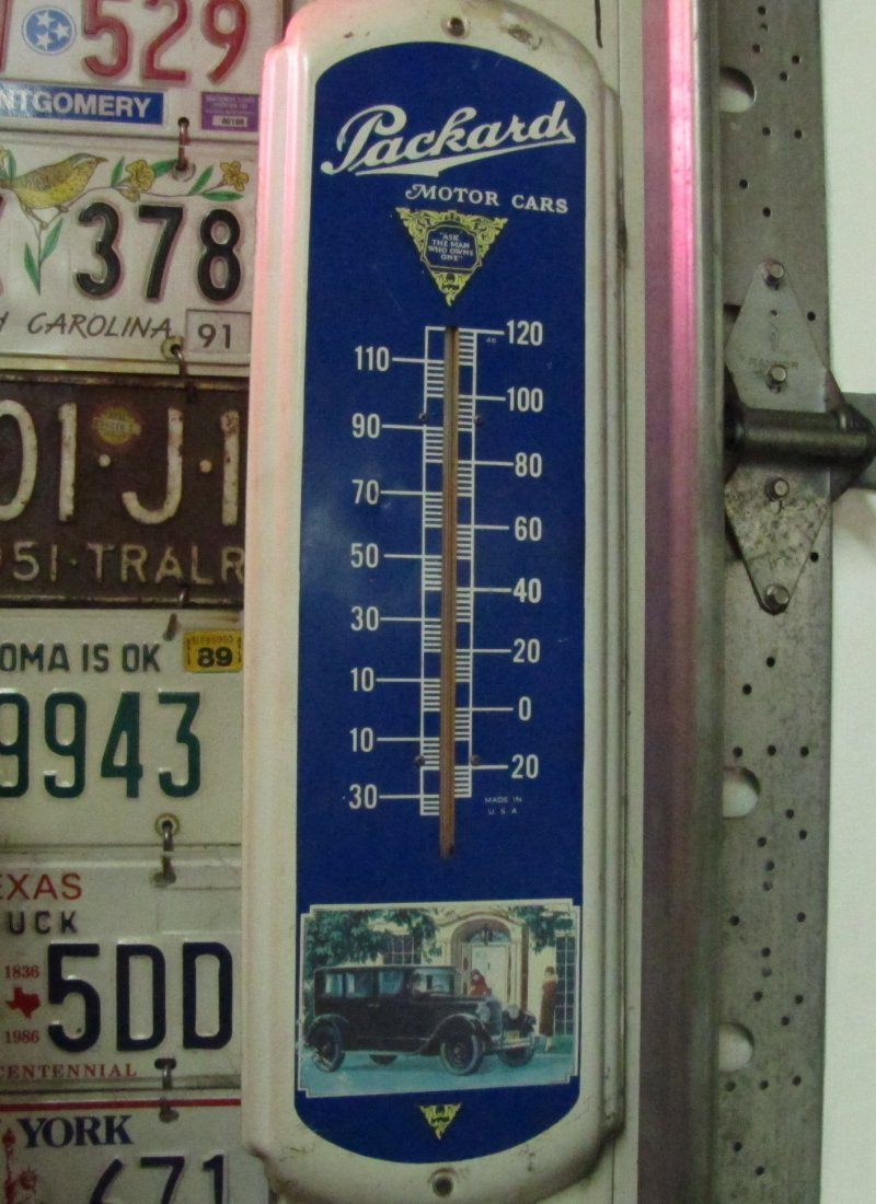 63: Packard Motor Cars Metal Advertising Thermometer
