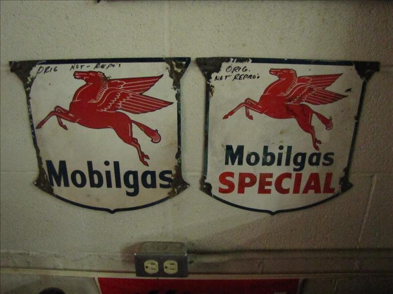 222: 2 Porcelain Mobil Gas Advertising Signs
