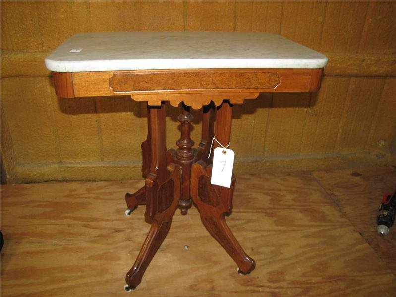 7: Antique marble top parlor table