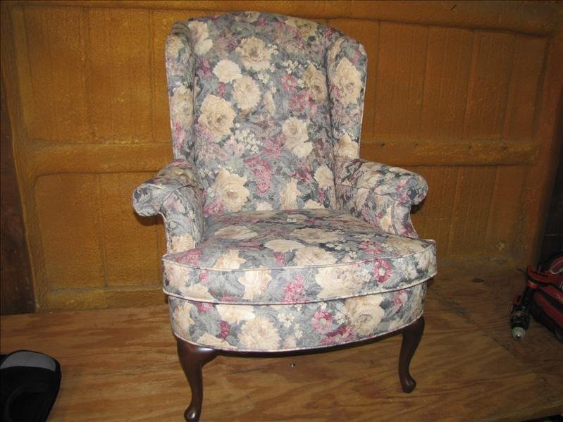 9: Upholstered wingback chair