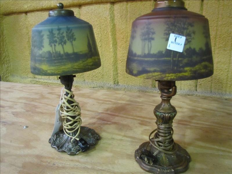 46: (2) Reverse Painted Decorative Lamps