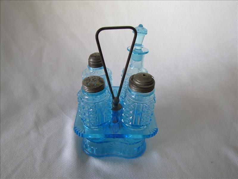 2: Castor Set Blue Glass Condiment