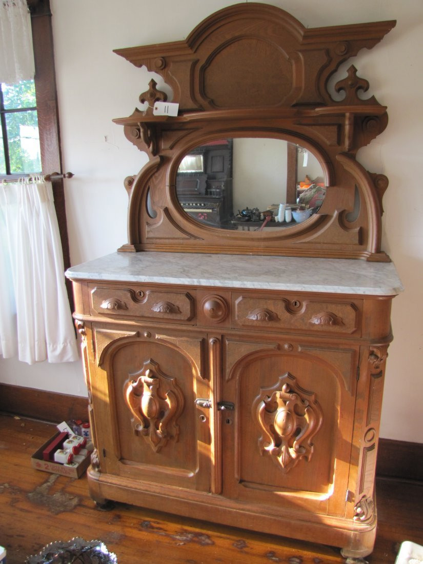 11: Solid Walnut Marble Top Buffet