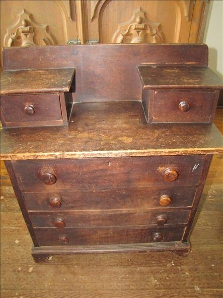 16: Wooden Antique Childs Chest of Drawers