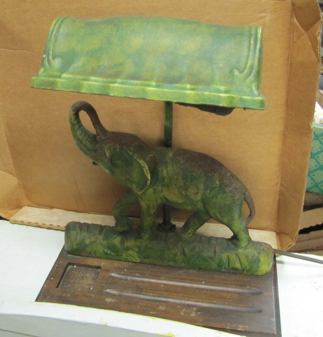 17A: Cast Iron Elephant Desk Lamp