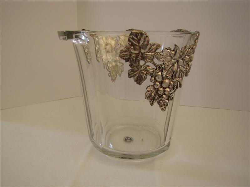 14: Crystal Ice Bucket with Grape Motif