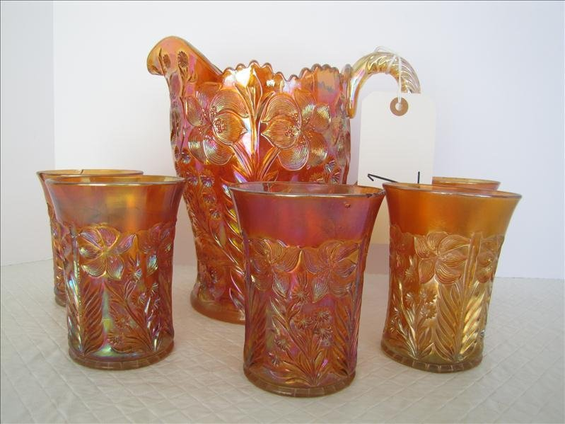 1: Carnival Glass Pitcher With 5 Tumblers