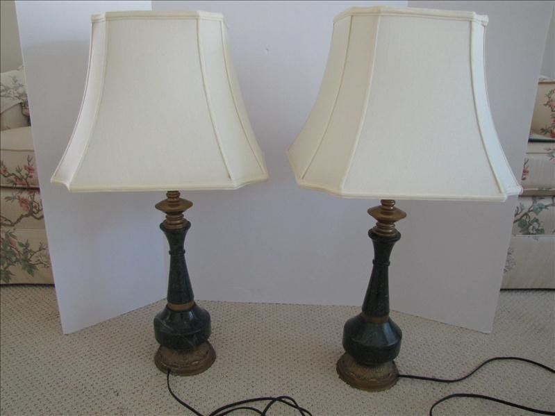 61: Pair of Green Marble Base Table Lamps