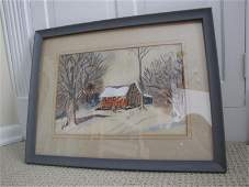 64: Framed & Matted Winter Scene Watercolor Painting