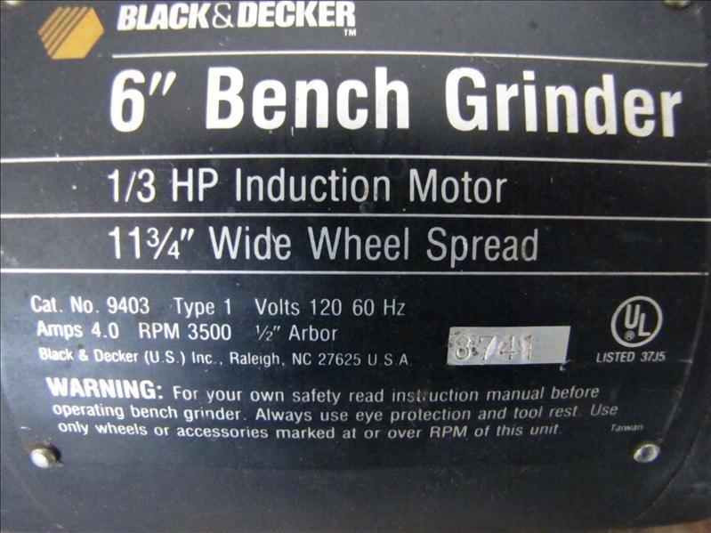 "115: Black And Decker 6"" Dual Wheel Bench Grinder - 2"