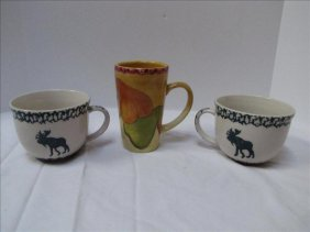 3: (3) Country Style Coffee Mugs