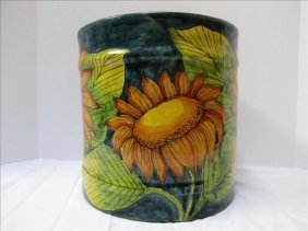 9: Sunflower Motif Mexican Crock