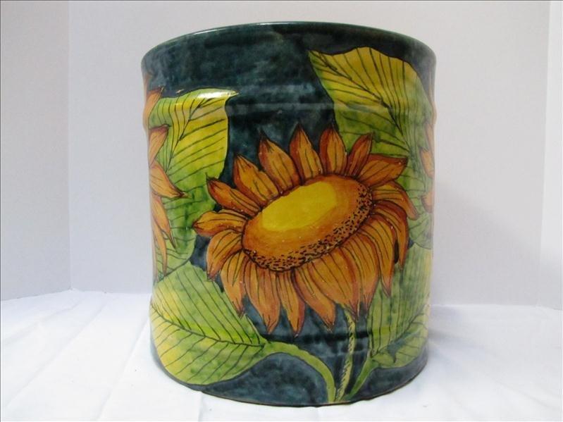 9: Sunflower Motif Mexican Crock