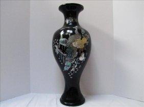 Plastic Korean Vase With Peacock Motif