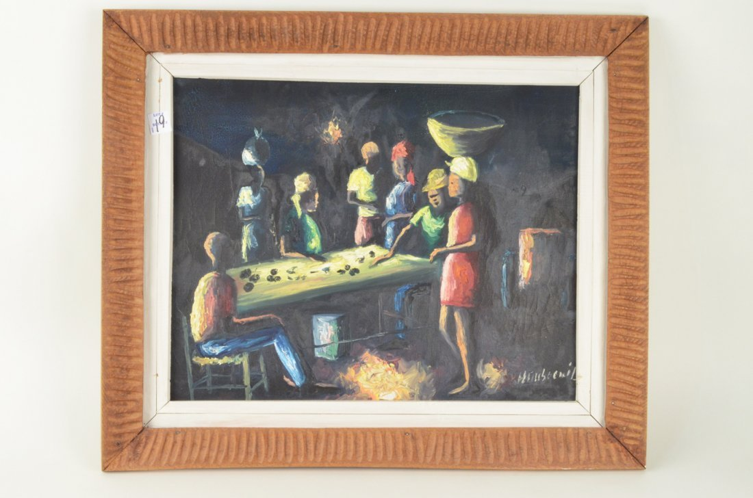 132: Henry Dubreuil Haitian primitive oil painting