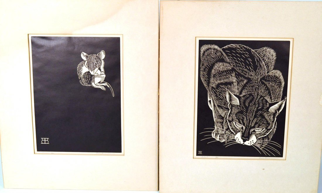 5: Belle Baranceanu bobcat & mouse signed linocuts