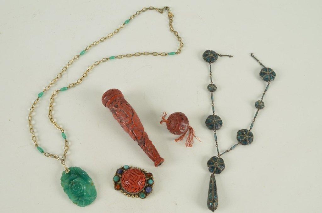 11: Lot of jewelry & cinnabar