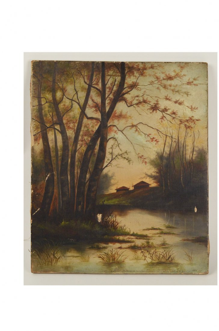 24: Oil Painting of China Huts in Wooded Marsh