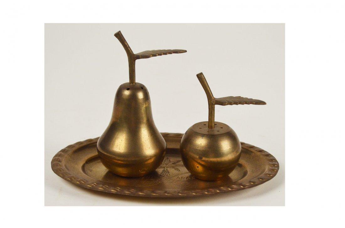 22: Pear & Apple Salt & Pepper Shakers on Tin Tray
