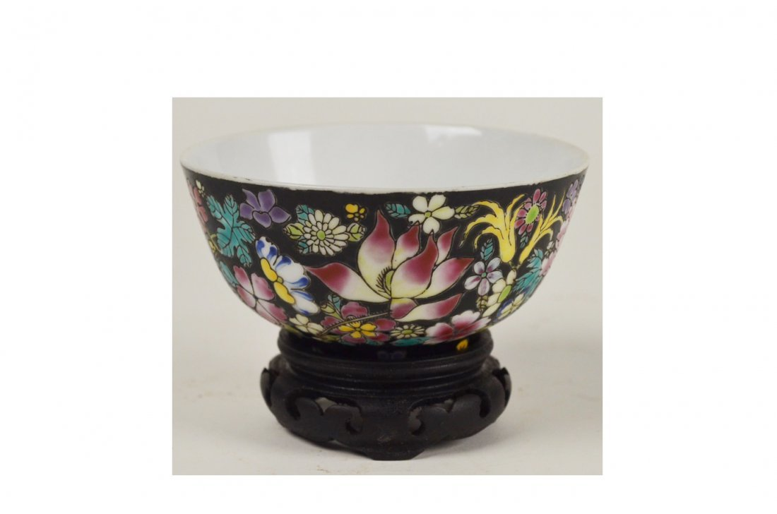 20: Floral Chinese Bowl & Cloisonne Glass Egg