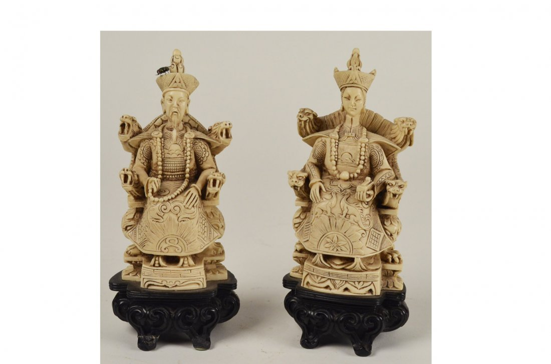 19: Pair Chinese Carved Emperor & Empress Figures