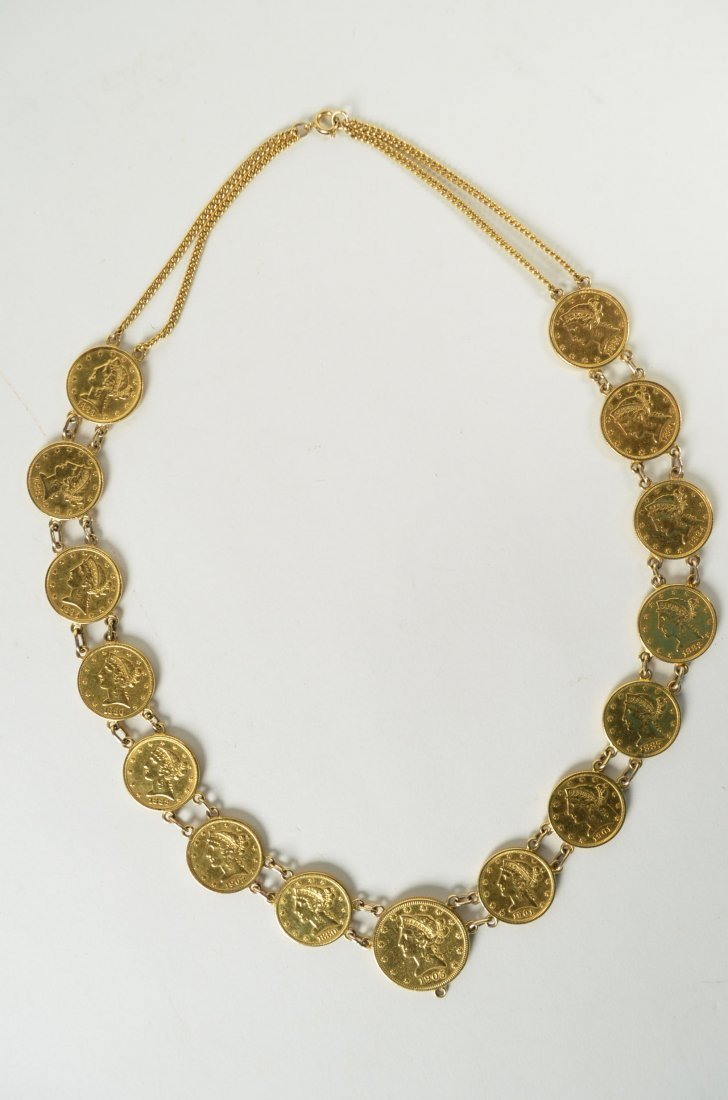 25I: Gold Liberty Coin Necklace w/ 15 Coins