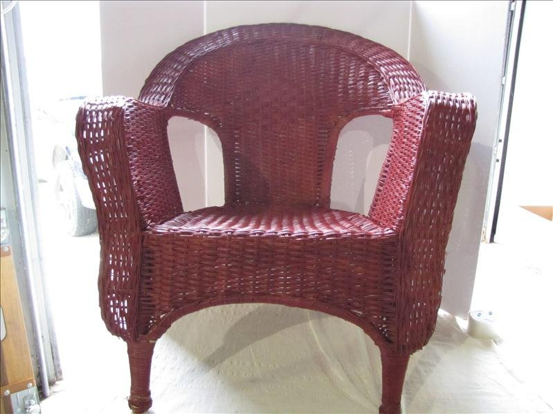 18: Red Wicker Arm Chair