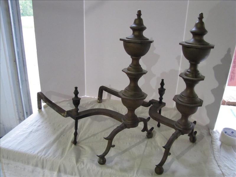 23: Pair of Brass Fireplace Andirons