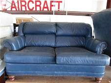 70 Blue Leather Brass Tacked Loveseat