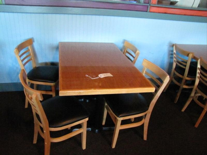 2A: Wood Top Restaurant Table and Chairs