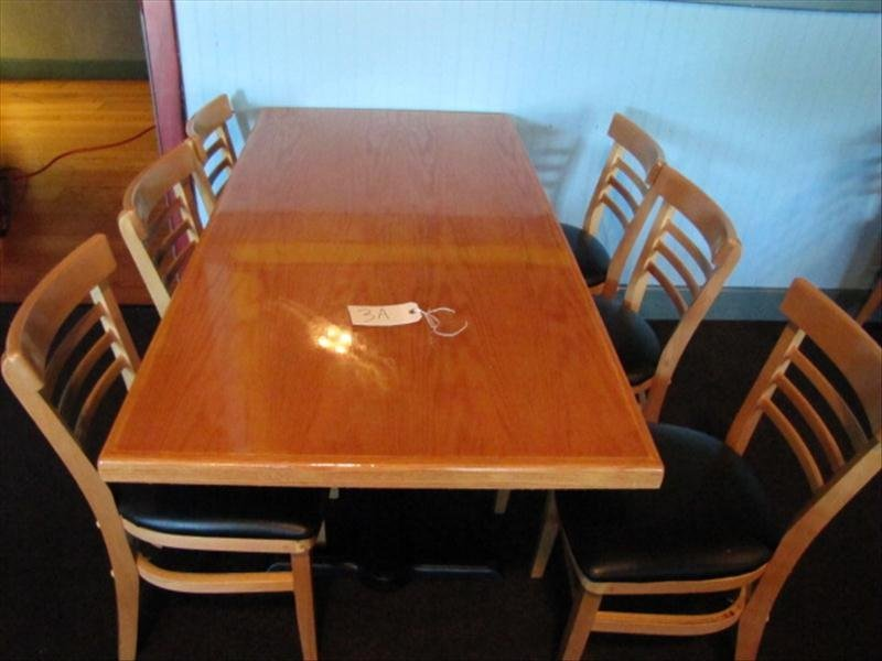 3A: Large Restaurant Table w/ 6 Chairs