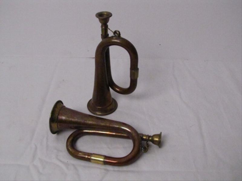 23: (2) Miniature Infantry Brass Bugles