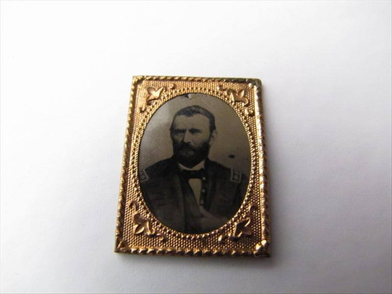 24: Copper Wrapped Civil War General Tin Type Photo
