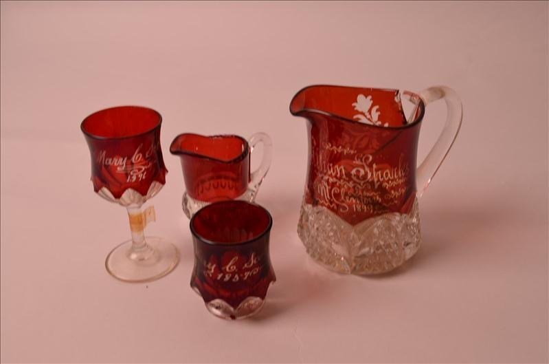 1: (3) Pieces of Clear to Ruby Glassware