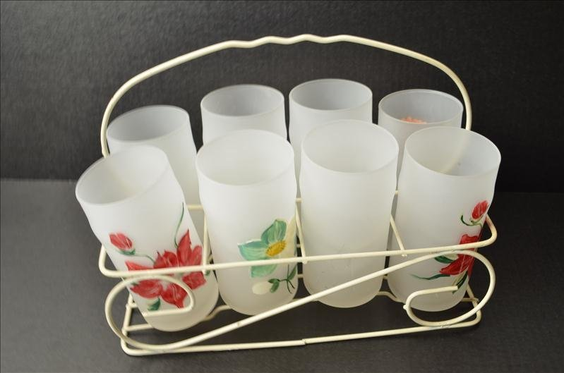 12: Retro/Mid Century Lemonade Glasses w/ Carrier
