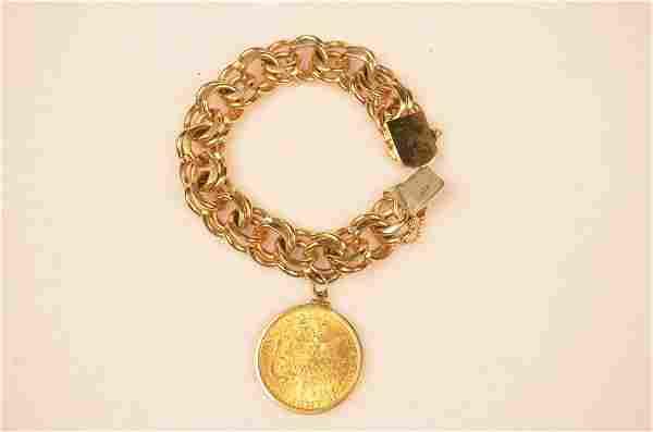 14kt Gold Bracelet W/ 20 Dollar Gold Liberty Coin