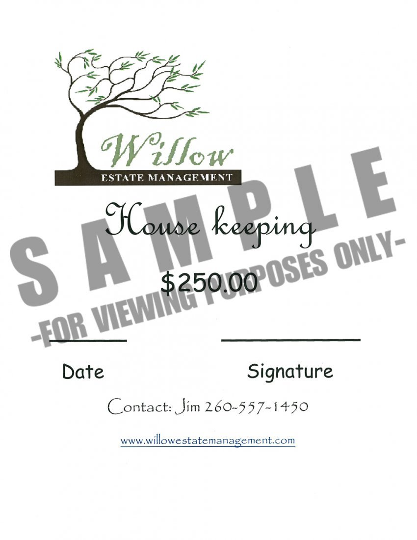 Willow Esate Housekeeping Package