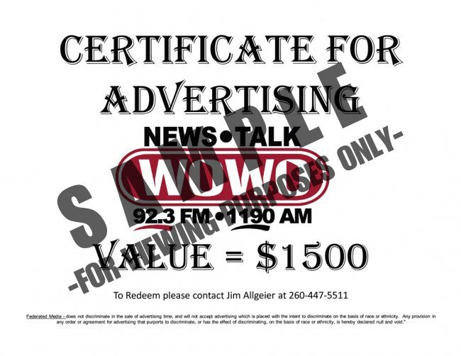 WOWO \ K105 Radio Station - Certificate for Advertising